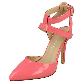 Ladies Anne Michelle High Heel Ankle Strap Court Shoe