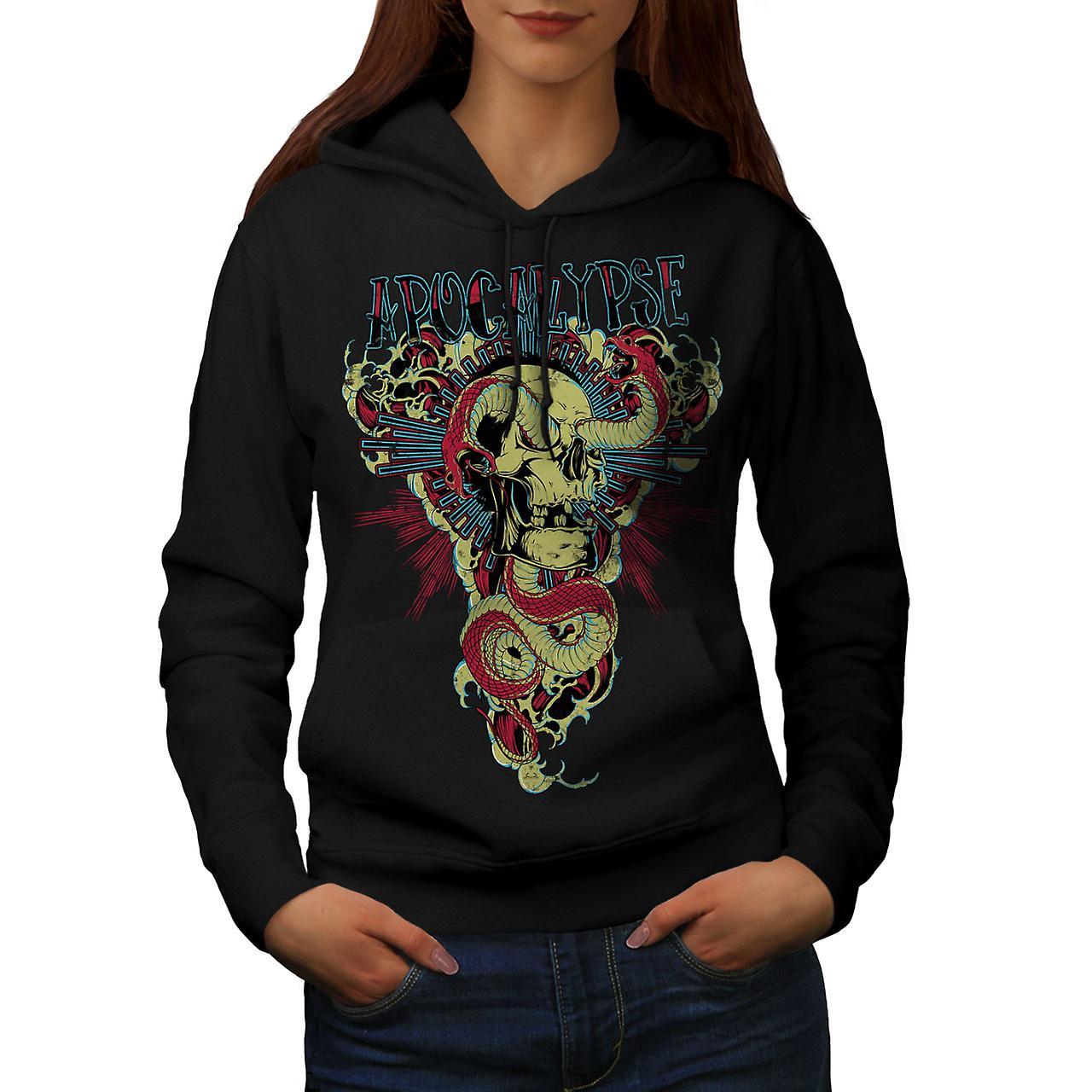 Apocalypse Beast Skull Women Black Hoodie | Wellcoda