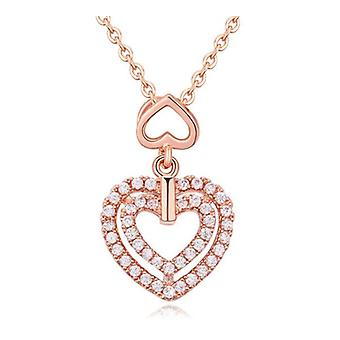 Women's Girls Double Heart Pendant Necklace in Rose Gold