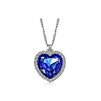 Womens Girls Dark Blue Titanic Style Heart of the Ocean Necklace With Crystal Elements
