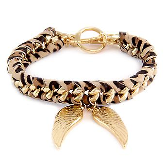 Ettika - Bracelet Yellow Gold wings and ribbons braided cotton Leopard print