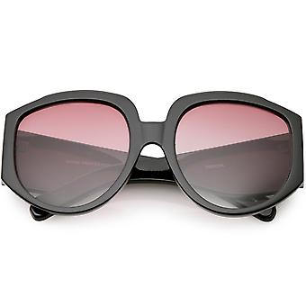 Designer Wide Arms Round Oversize Sunglasses Color Tinted Gradient Lens 57mm