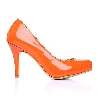 PEARL Orange Patent PU Leather Stiletto High Heel Classic Court Shoes