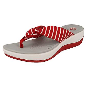 2087b07a5026c Ladies Clarks Cloudsteppers Toe Post Summer Sandals Arla Glison - Red Combi  Textile - UK Size