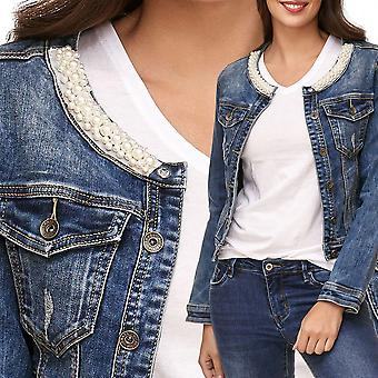 Ladie's Jeans jacket Pearls Collar Jewelry Lace Vest Longsleeve Stretch Short Slim