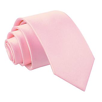 Baby Pink Plain Satin Slim Tie