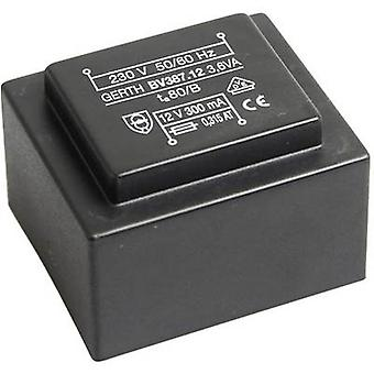 PCB mount transformer 1 x 230 V 1 x 9 V AC 3.60 VA 400 mA PTG380901 Gerth