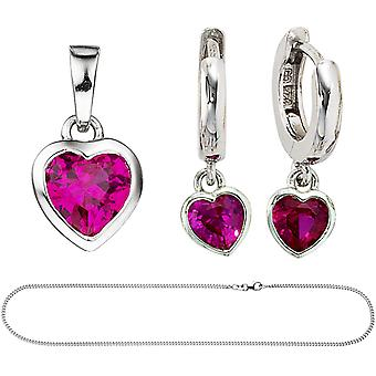Kids girls pink pink 925 Silver cubic zirconia necklace jewelry set heart 38 cm