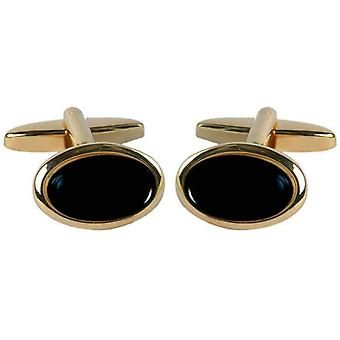 David Van Hagen Gold Plated Onyx Oval Cufflinks - Black/Gold