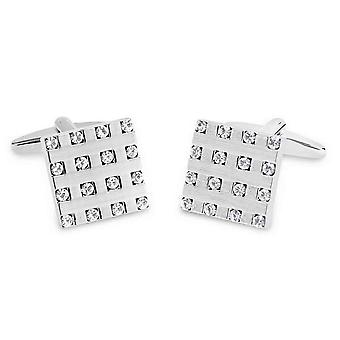 David Van Hagen Brushed Square Crystal Pattern Cufflinks - Silver/Clear