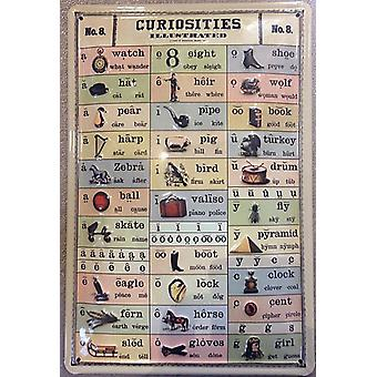 Curiosities Illustrated (Vowel Sounds) Embossed Steel Sign 300Mm X 200Mm