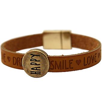 Gemshine - Damen - Armband - Happy - WISHES - Braun - Magnetverschluss
