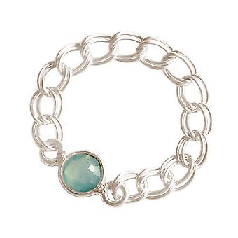 Gemshine - women's - ring - 925 Silver - chalcedony - sea green - mobile - smooth