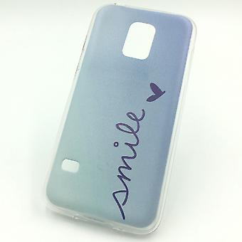 Handy Hülle für Samsung Galaxy S5 Mini Smile Blau Tasche Case Cover Motiv Slim