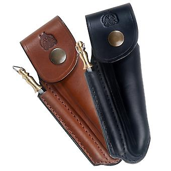 Shaped leather sheath for Laguiole with sharpener - Color - Brown Direct from France