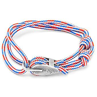 Anchor and Crew Tyne Silver and Rope Bracelet - Red/White/Blue