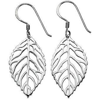Beginnings Cut Out Leaf Drop Earrings - Silver