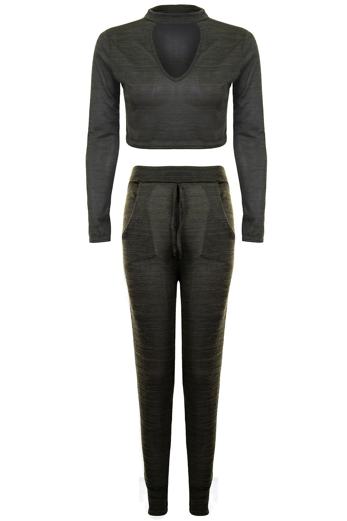 Ladies Choker V Neck Long Sleeve Crop Top Joggers Lounge Wear Set Tracksuit