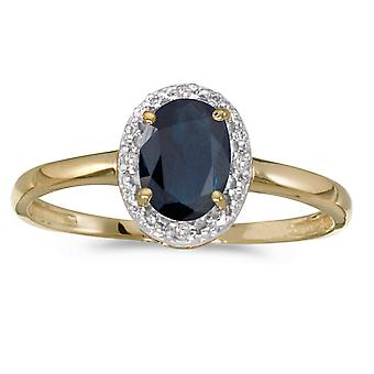 10k gult gull ovale safir og Diamond Ring