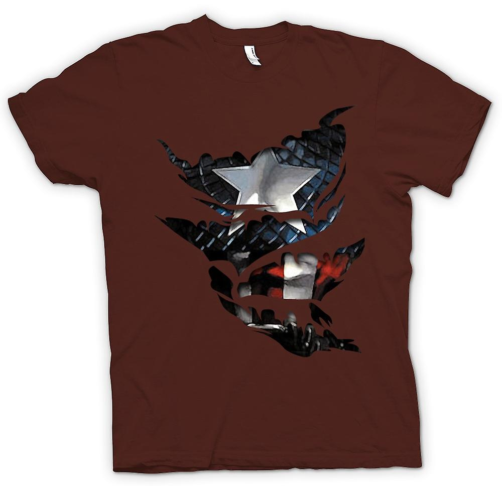Mens T-shirt - Captain America - Ripped Effetto