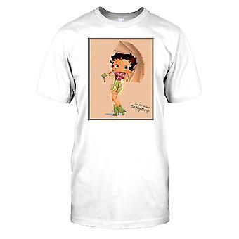 Betty Boop Vintage Cartoon - gekleed voor regen Kids T Shirt