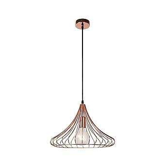 Lucide Vinti Vintage Round Metal Copper And Black Pendant Light