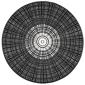 Tapete redondo preto Cascara lavar + secar o tapete lavável sujeira
