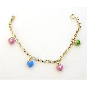 TOC Girls Sterling Silver Goldtone Colourful Heart Charm Bracelet 6.5