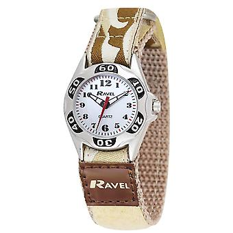 Ravel Boys Beige Army Camouflage Fabric Easy Fasten Strap Watch R1507.08
