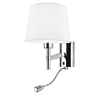 Chrome Wall Light With Led Reading Lamp