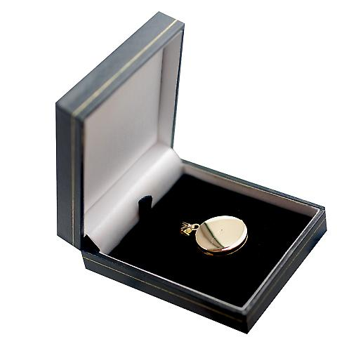 9ct Gold 23mm engraved flat round Locket