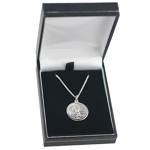 9ct White Gold 20mm round St Christopher Pendant with a spiga Chain 16 inches Only Suitable for Children
