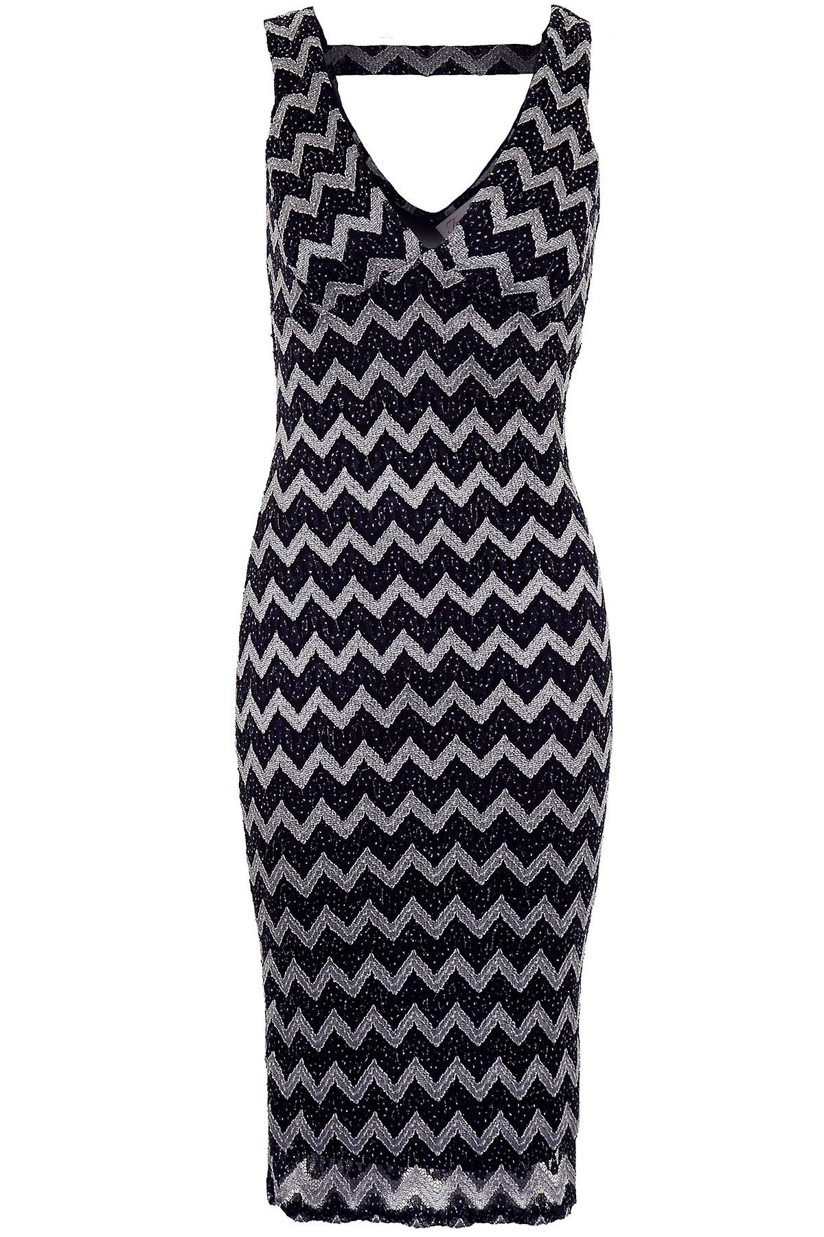 Ladies V Neck Back Lined Glittery Zig Zag Women's Bodycon Knee Midi Dress