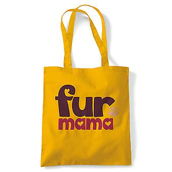 Fur Mama, Tote Bag | Reusable Shopping Cotton Canvas Bags Long Handled Natural Easy Carry Shopper Eco-Friendly Fashion | Gym Book Bag Birthday Present Unisex Gift Him Her | Multiple Colours Available