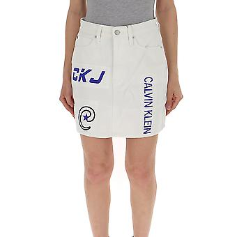 Calvin Klein Jeans White Denim Skirt