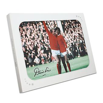 Denis Law Signed Manchester United Photograph: With George Best In Gift Box