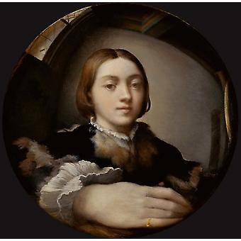 Selvportrett i et konvekst speil, PARMIGIANINO, 50x50cm