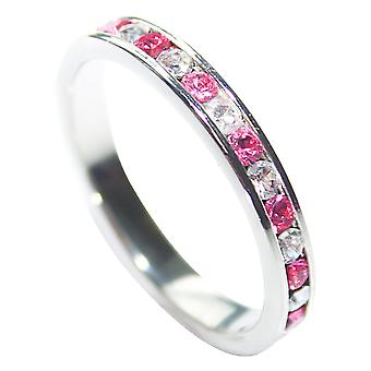 Ah! Jewellery Rose & Clear Cubic Zirconia Eternity Band, Sterling Silver