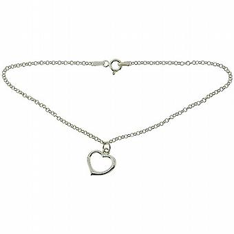 TOC Sterling Silver Open Heart Charm Anklet 9