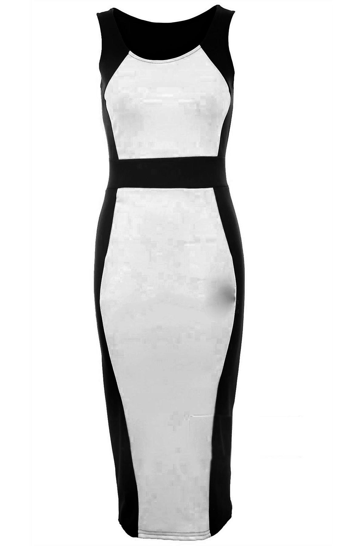 Ladies Sleeveless Contrast Long Bodycon Waist Line Women's Dress