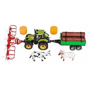 Idena Straw Tractor Set Trailer for Wood Turner/Straw Bales and a Cow and a Ram Figure