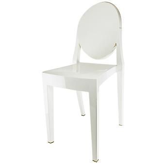 Fusion Living Ivory White Ghost Style Plastic Victoria Dining Chair