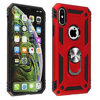 Apple iPhone XS Max Case Bi Material Rigid Soft Magnetic Ring Stand Red
