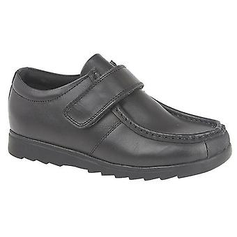 Boys Formal Shoes Leather Single Touch Fastening Rubber Toe Guard School