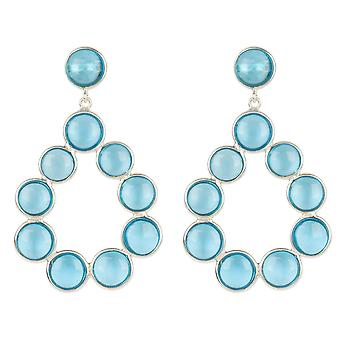 Gemstone Statement Earrings Silver Blue Topaz Circle Stud Dangle Gift Drop 925
