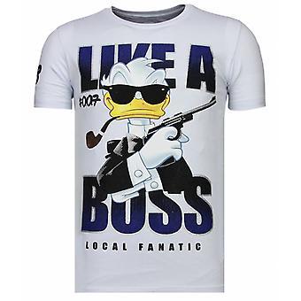 Like A Boss-Rhinestone T-shirt-White
