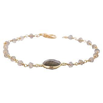 Gemshine bracelet with grey shimmering labradorites in 925 silver or gold plated