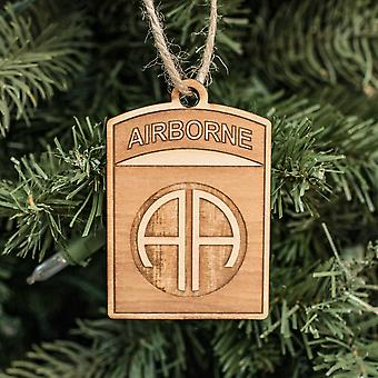 Ornament - 82nd airborne - raw wood 3x2in