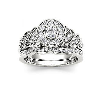 IGI Certified S925 Silver 0.50Ct TDW Natural Diamond Cluster Bridal Ring Set