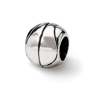 925 Sterling Silber poliert antike Finish Reflexionen Basketball Perle Charme